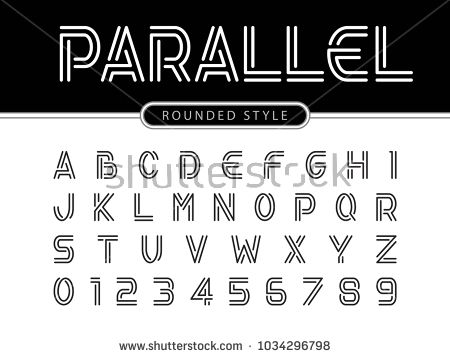 Vector Of Modern Alphabet Letters And Numbers Parallel Lines Stylized Rounded Fonts Double Line