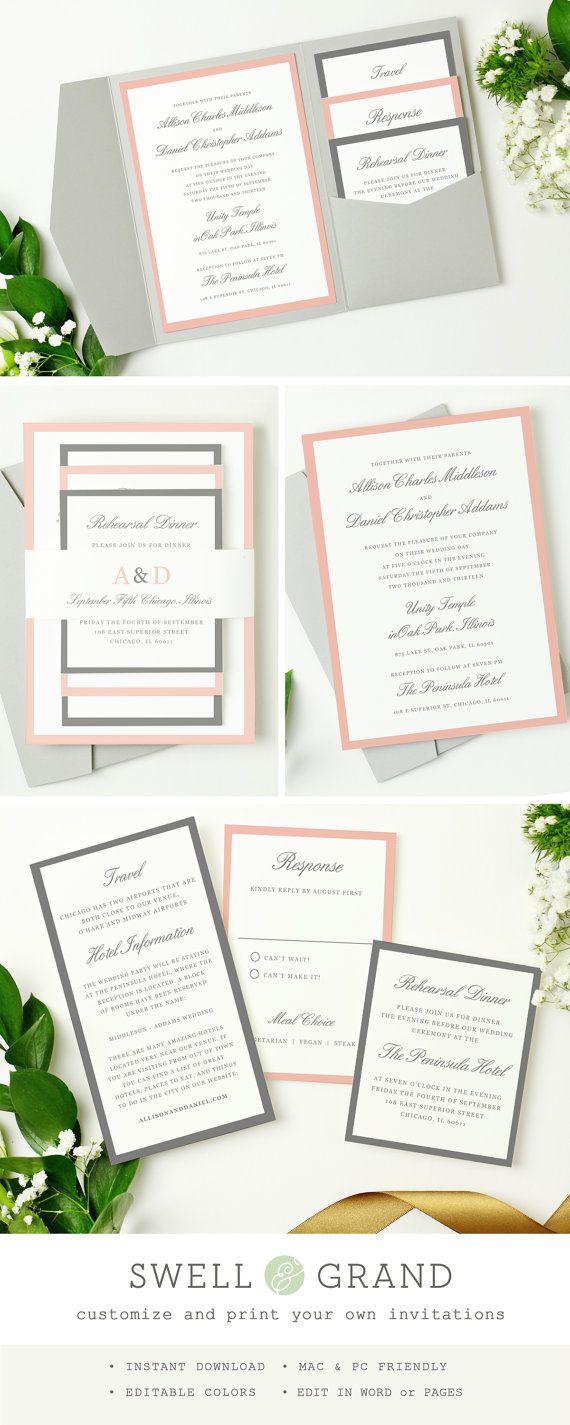 INSTANTÁNEA DESCARGAR | Invitación de la boda de bolsillo para imprimir | Gris y rosa | Editar en Word o páginas | Colores de arte editables | Mac & PC