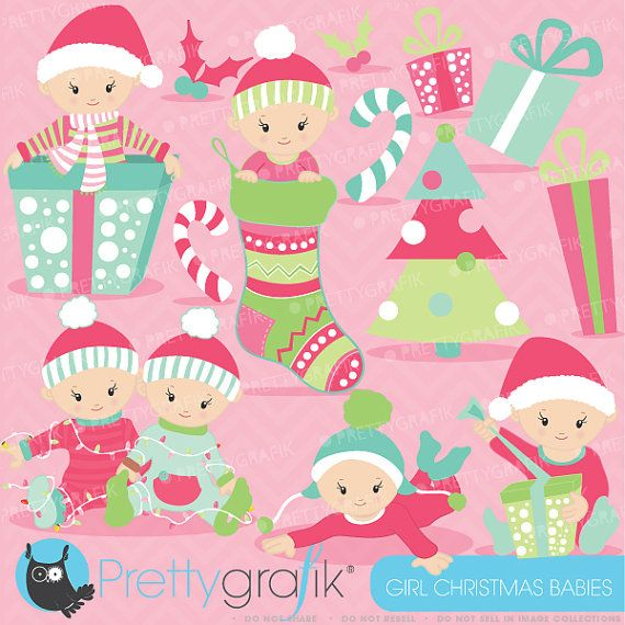 60% OFF SALE Christmas baby girl clipart commercial use ...