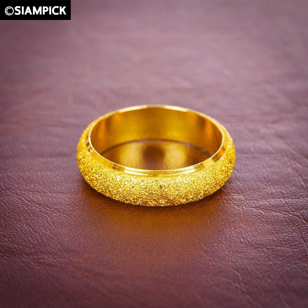 Sand Matted Ring 24k Thai Baht Yellow Gold Plated Plain Wedding Bridesmaid Gift Gold Filled Ring Wedding Gifts For Bridesmaids Rings For Men