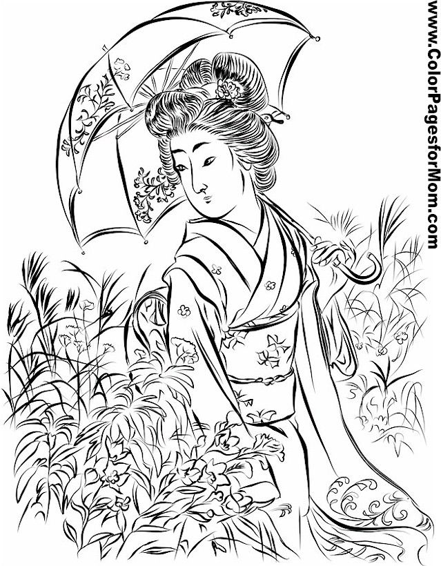 Asian Coloring Page 15 | 05 Kokesi | Pinterest | Diseño oriental ...