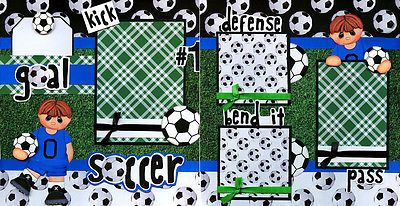 SOCCER-2-premade-scrapbook-pages-paper-piecing-4-album-layout-sports-BY-CHERRY