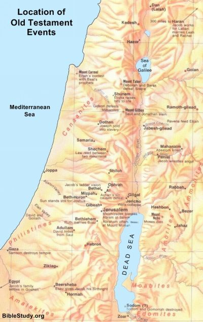 Map showing location of Old Testament Events