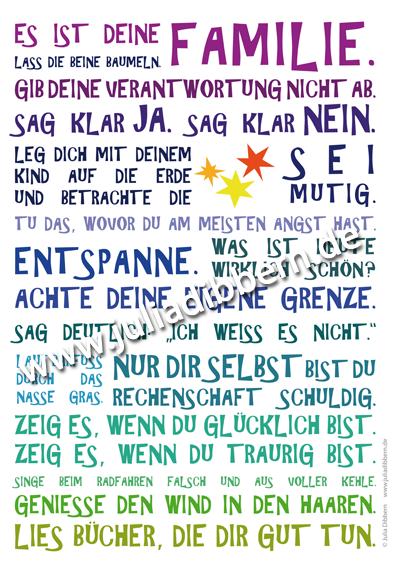 Poster Es Ist Deine Familie Blau Sprüche Kinder
