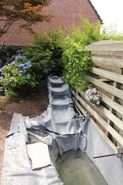 Vijver met waterval vijver pinterest tuin for Tuin en vijver