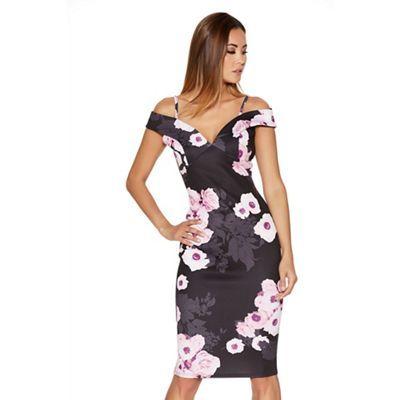 549685f9a1 Quiz Black And Pink Flower Print Bardot Midi Dress | Debenhams | My ...