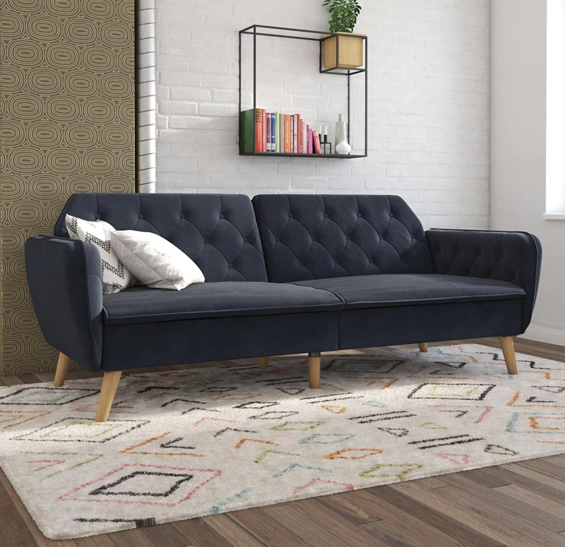 Novogratz Tallulah Memory Foam Futon Blue Velvet In 2020 Living Room Sofa Convertible Couch Home Decor