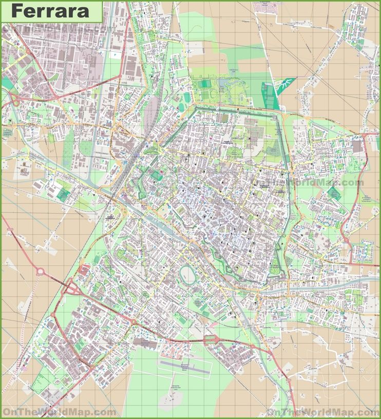 Large detailed map of Ferrara Maps Pinterest Italy and City