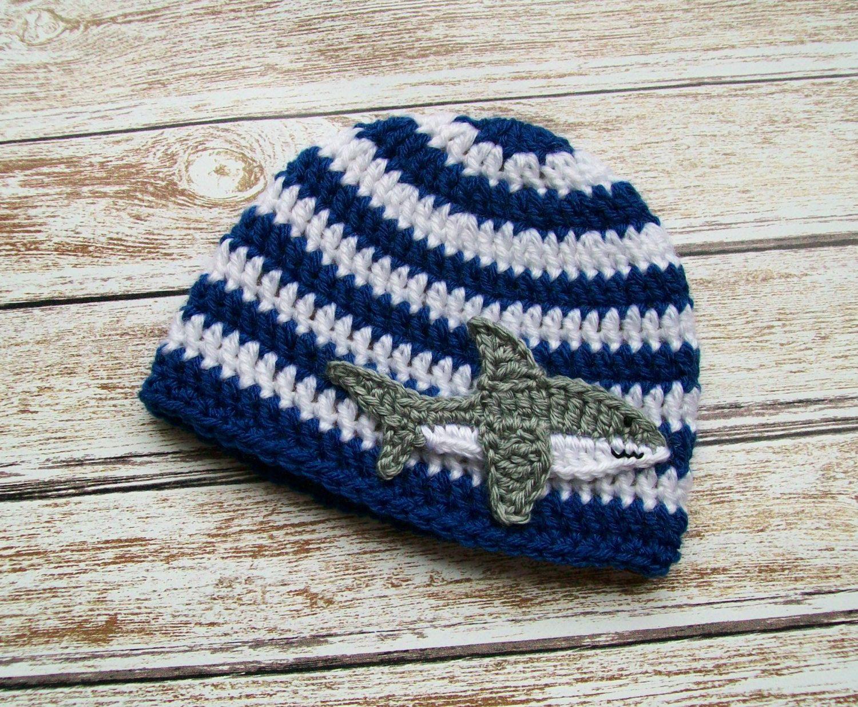 Crochet Baby Hat Shark Beanie Nautical Baby Toddler Boy Girl Hat ... e171aea1d143