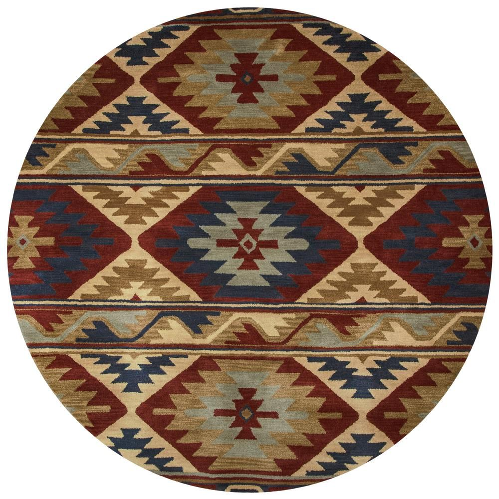 Riztex Usa Ryder Multi Color 8 Ft X 8 Ft Round Native American
