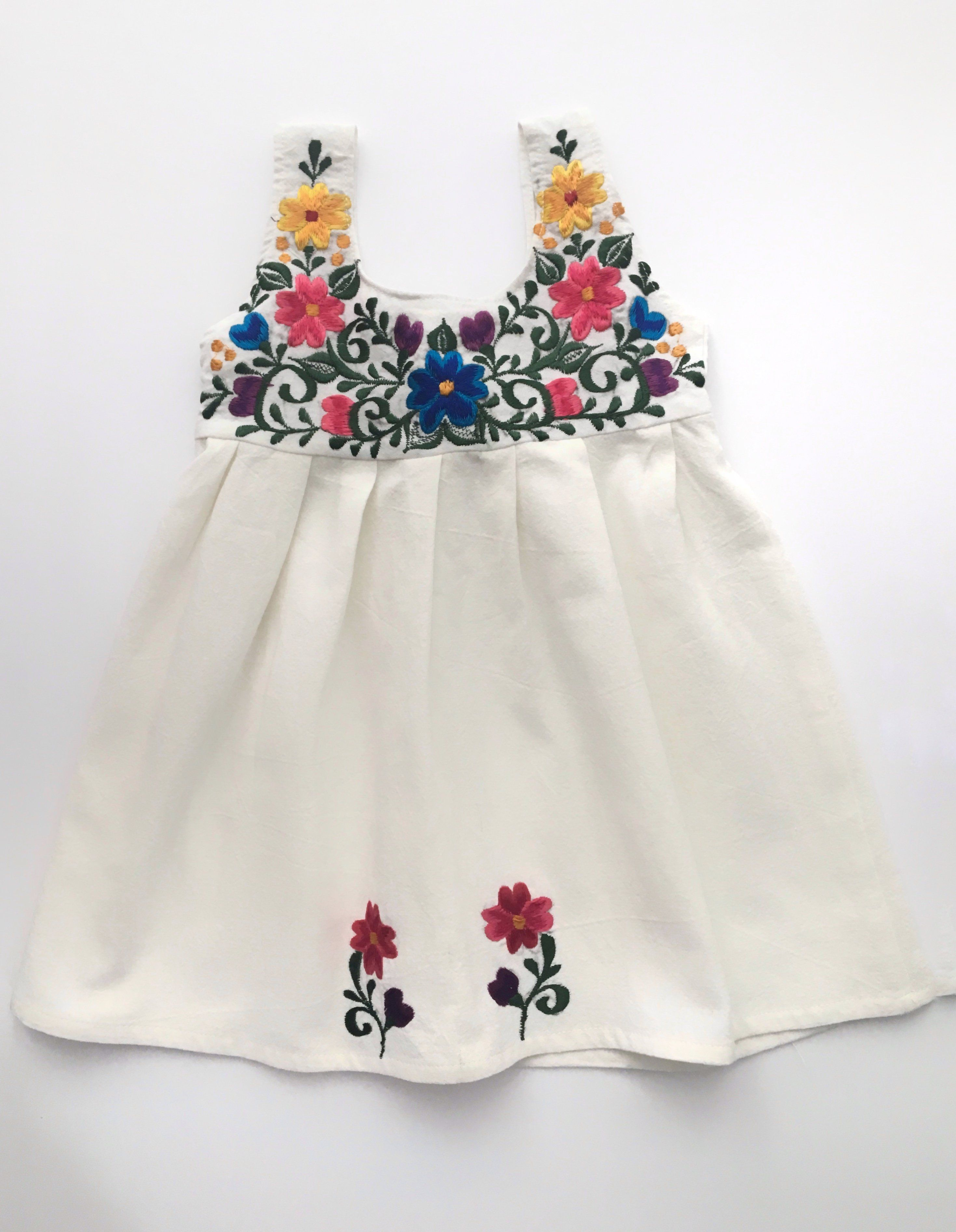 Mexican Baby Girls Dress Purple Embroidery on the front Puebla style 6M-24M