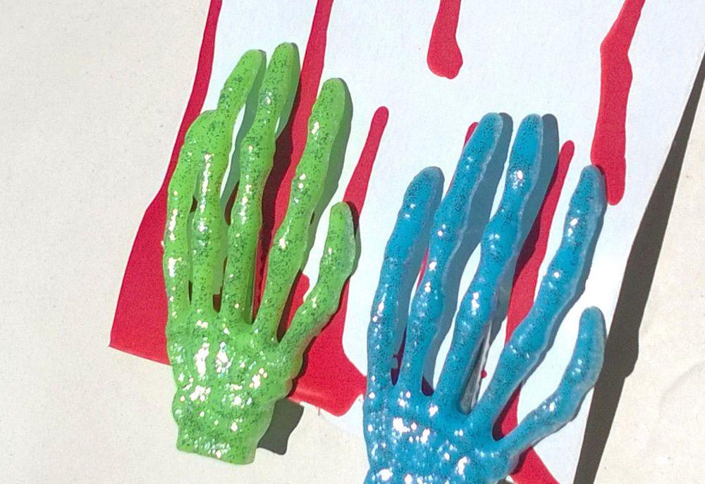 "Zombie Skeleton Hand Barrettes Blue & Green Glitter Hair Clip 3"" Halloween #Handmade #Barrette"
