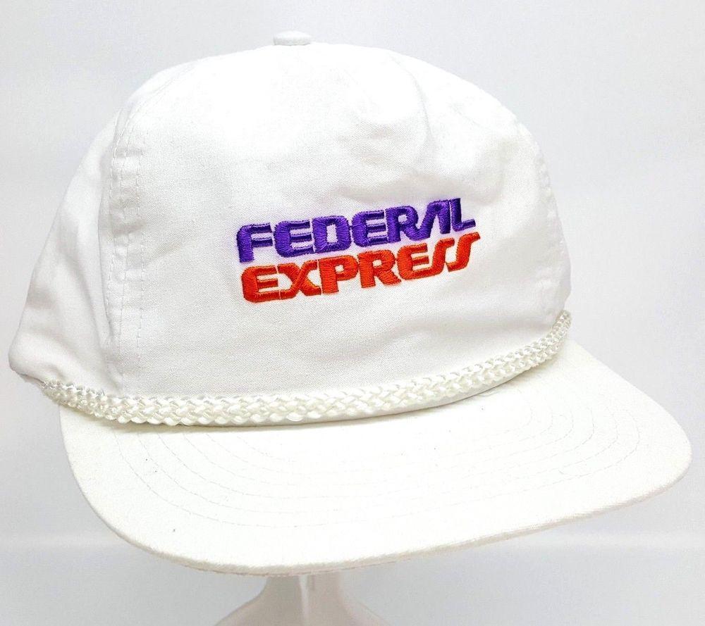 ac5af6ee8f4 Vintage FedEx Federal Express Snapback Cap Baseball Trucker FedEx Hat White   DesignerAward  TruckerHat