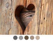 Heart in old wooden door – Valentine – Natural. Brown and …..