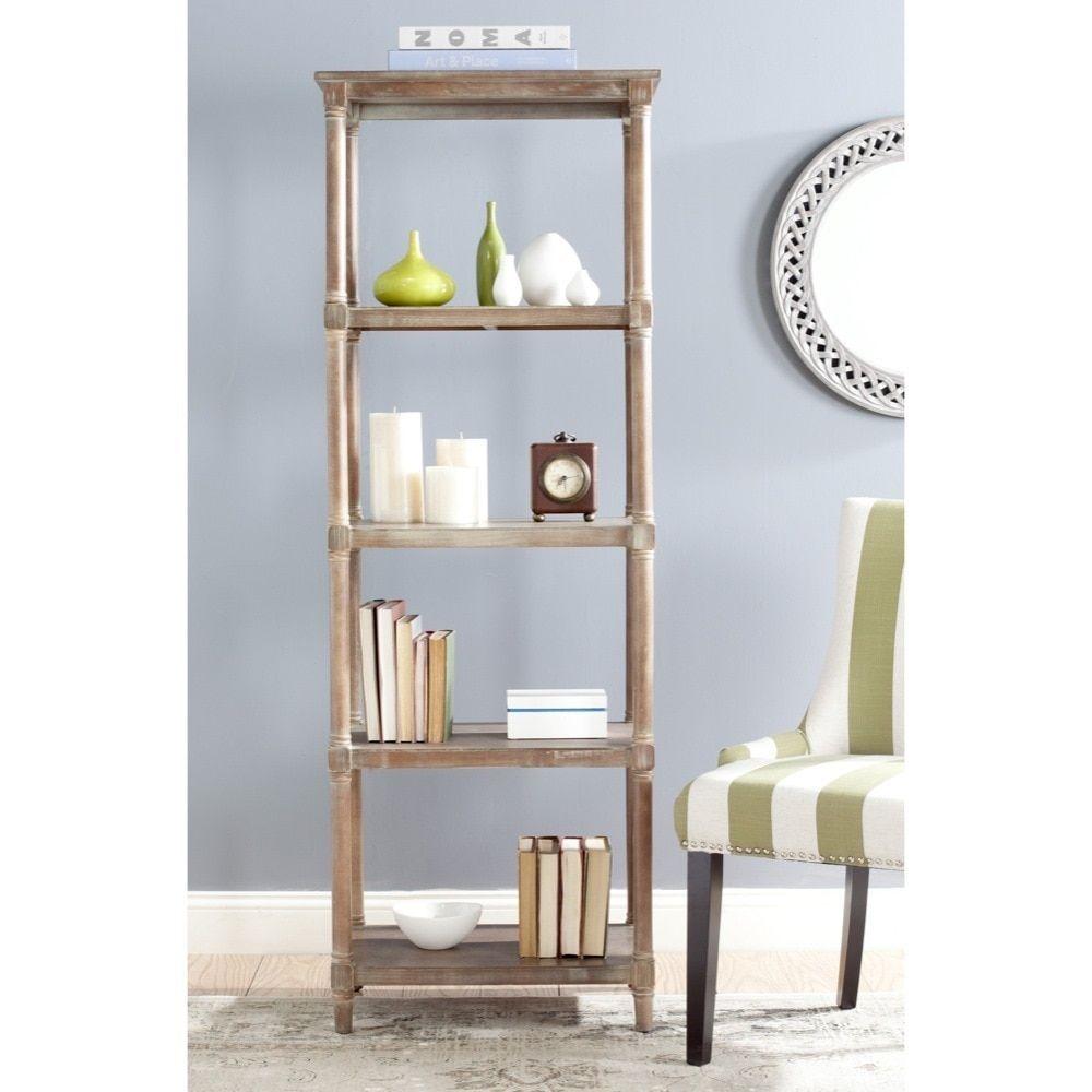 Safavieh odessa washed natural pine green tier bookcase
