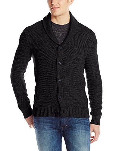 Kenneth Cole Men's Shawl Collar Cardigan Sweater, Black, Small ...