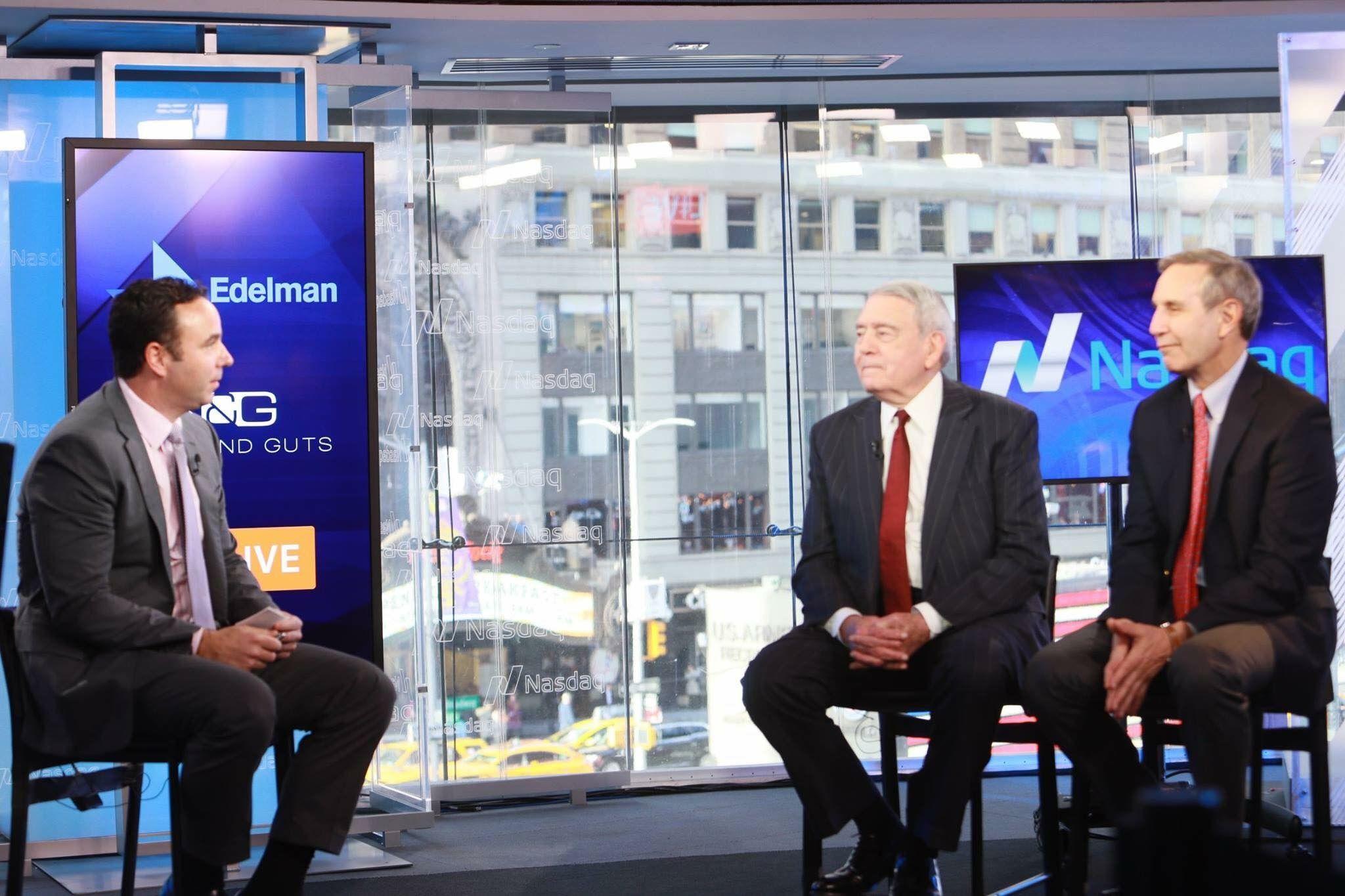 The legendary Dan Rather and Richard Edelman discussing trust at the Nasdaq MarketSite