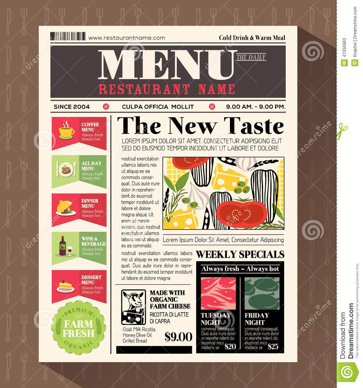 Newspaper style design google menu pinterest newspaper restaurant menu design template in newspaper style vector by kraphix on vectorstock saigontimesfo