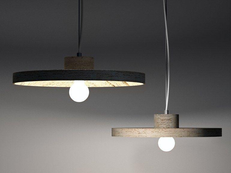 Fluorescent marble pendant lamp CHAPEAU Serafini Marmo Luce Collection by Marmi Serafini | design Raffaello Galiotto