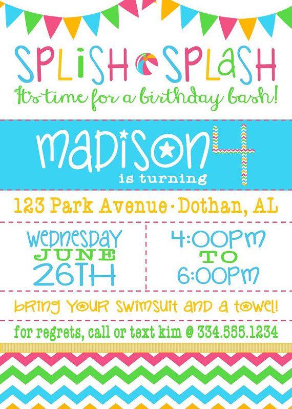 Pool Party Chevron Birthday InvitationSplish by LaLoopsieInvites - birthday invitation pool party