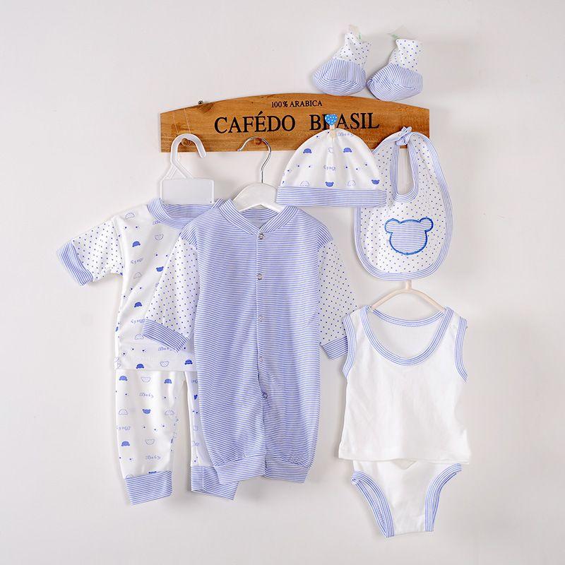 8pcs/set Newborn Baby Girls Boys Clothing Set 0-3M Tops+Pants+Bib+ ...