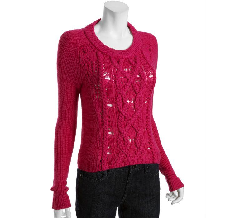 Marc by Marc Jacobs brilliant magenta wool 'Uma' cable knit crewneck sweater