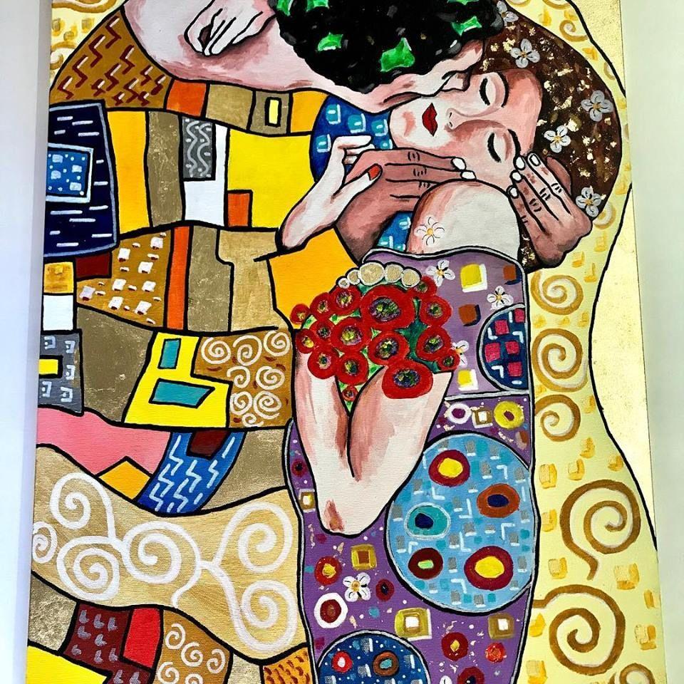 IL BACIO DI KLIMT THE KISS KLIMT | Arte divertente, Klimt, Quadri astratti