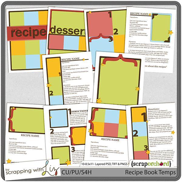 8.5 X 11 Recipe Template - $10