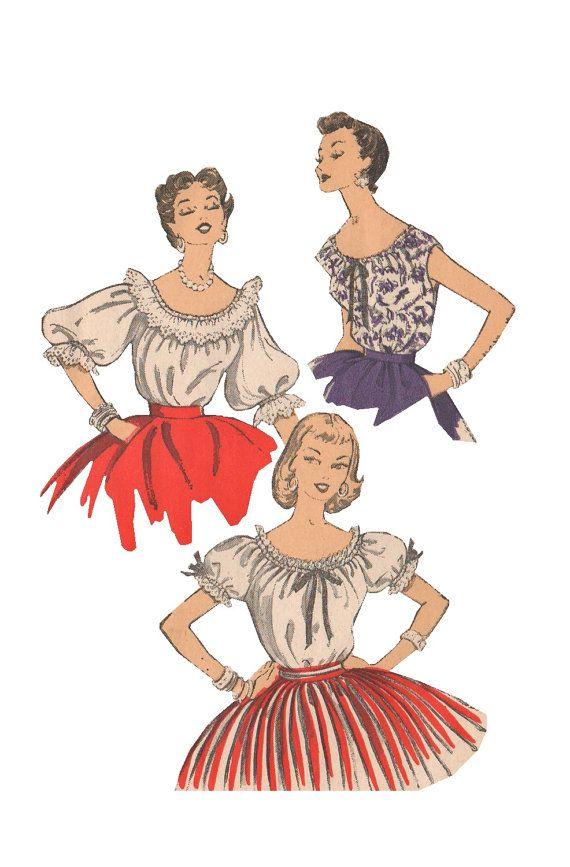 Advance 6754 Vintage 1950s Sewing Pattern Top Pattern Blouse Pattern ...