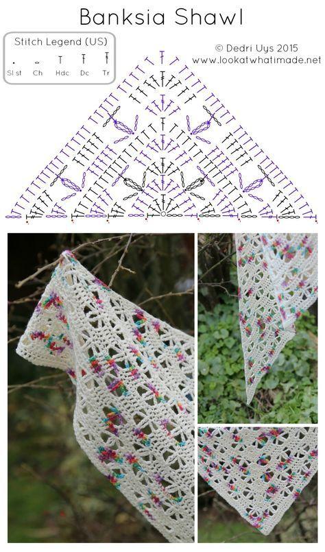 Banksia Shawl Free Crochet Pattern   háčkované šátky   Pinterest ...