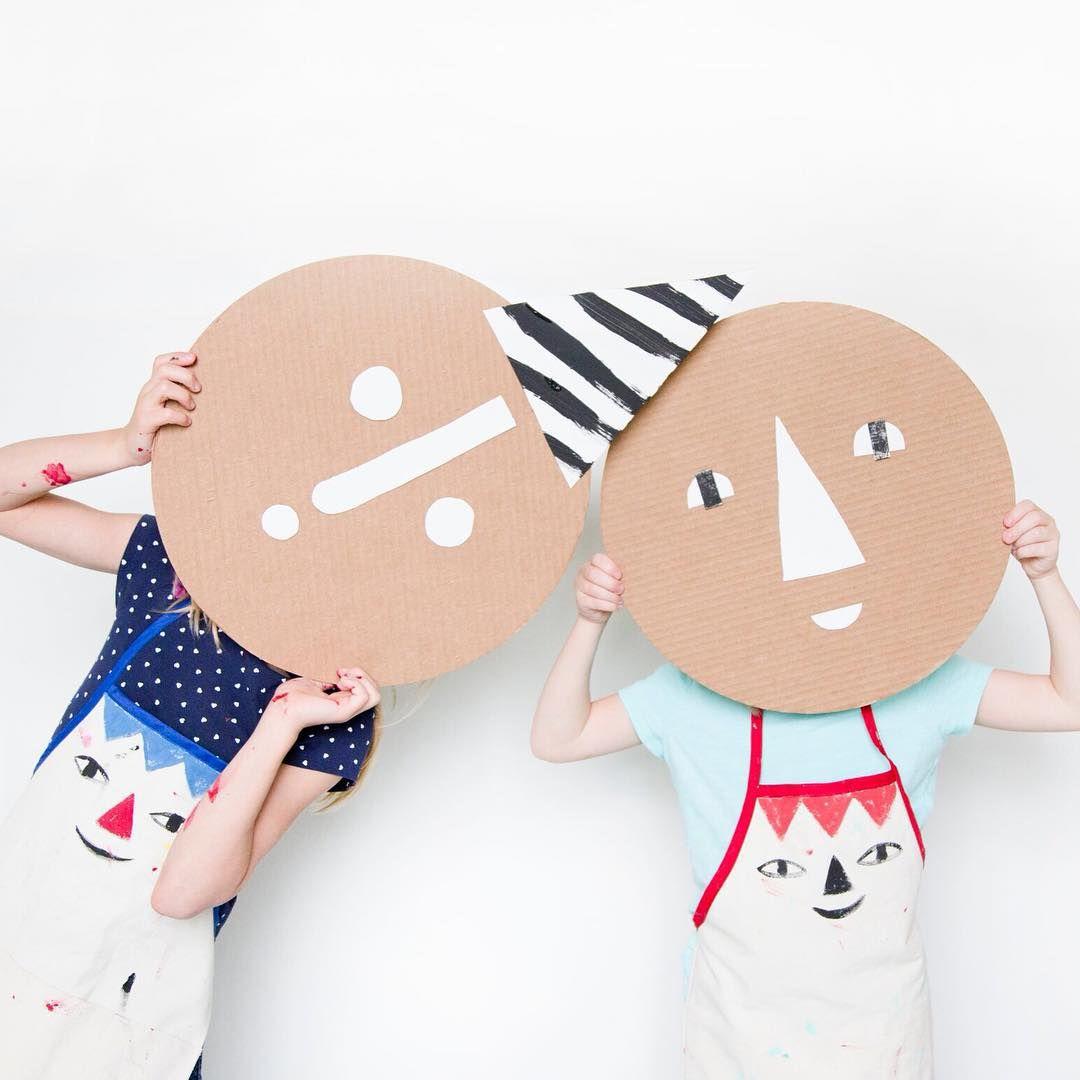 Platz für kinder, jungen und mädchen cardboard faces from pizza rounds  mer mag  versierideeen