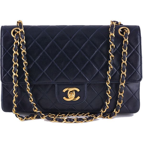 Pre-Owned Chanel Navy Blue-Black Lambskin Medium-Large Classic 2.55... (4,685 BAM) ❤ liked on Polyvore featuring bags, handbags, purses, chanel purse, navy blue handbags, vintage hand bags, quilted chain purse and vintage handbags