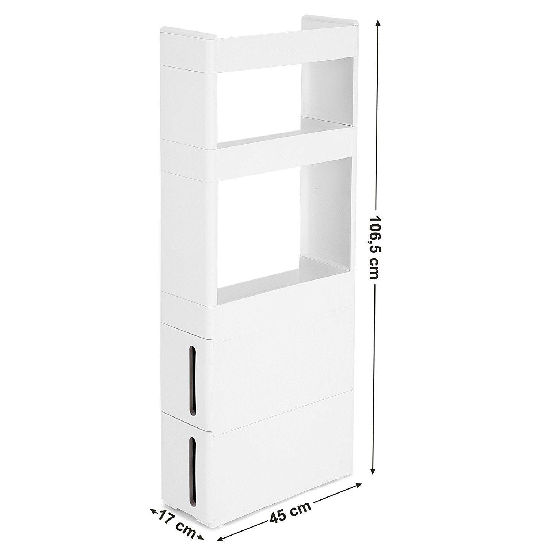 Lieblich Amazon.de: SONGMICS Nischenwagen Schmal In Weiß Mit 3 Ablagefächern 2  Schubladen Nischenschrank Mit