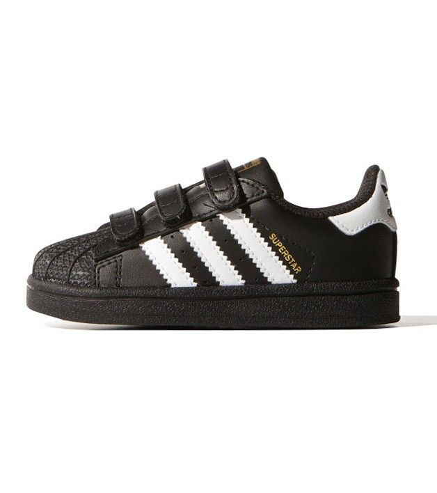 Adidas superstar fondazione di che bambino nero / bianco, ragazzi.
