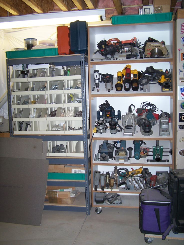 Tools Organized Ideas For The Garage Love The Slanted Shelves For The Power Tools Garage Organization Diy Diy Garage Storage Garage Organization Systems