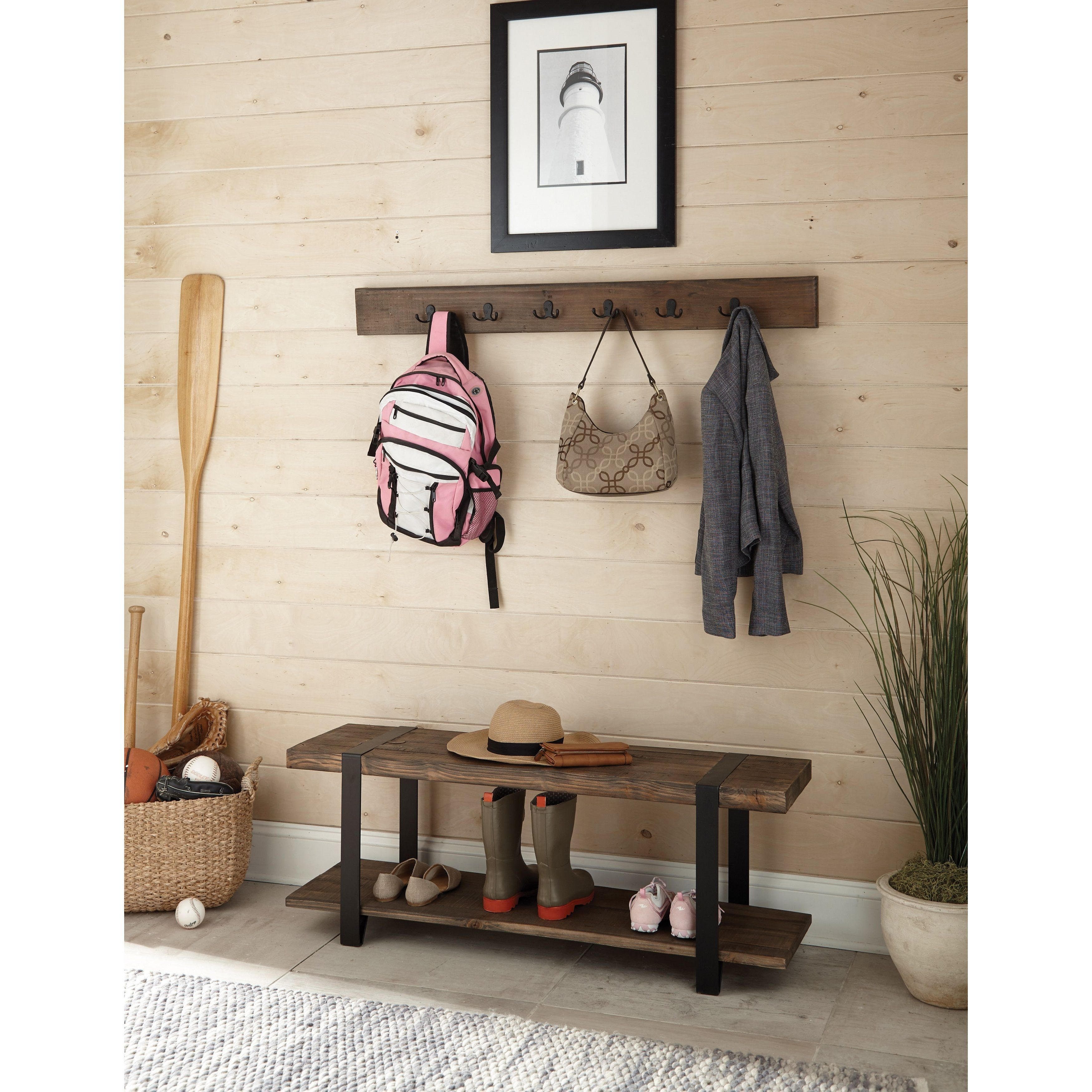 Alaterre Modesto Metal And Reclaimed Wood 48 Inch Storage Coat Hook With Bench Wall Brown
