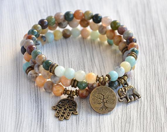 Stretchy bracelets Boho Bracelets Boho jewelry Yoga Bracelet yoga Mini Malas GEMSTONE Bracelets Mala Bracelet Bracelet set