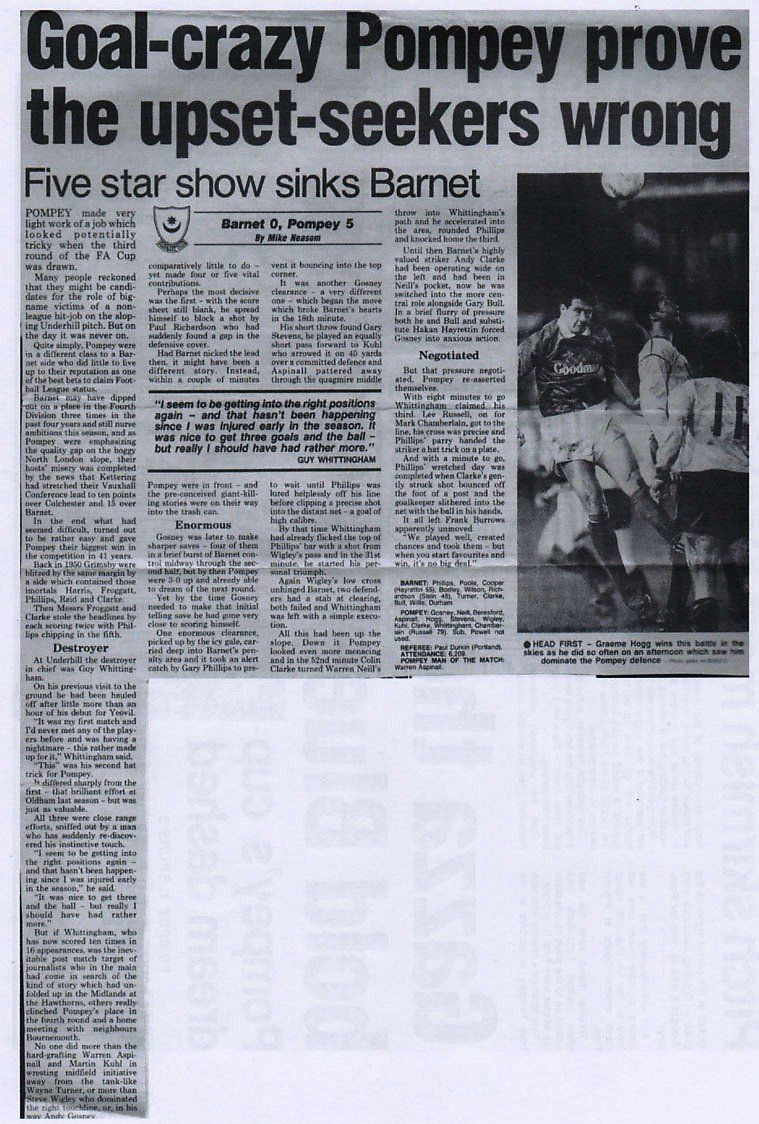 Barnet  Portsmouth  In Jan  At Underhill Newspaper Report