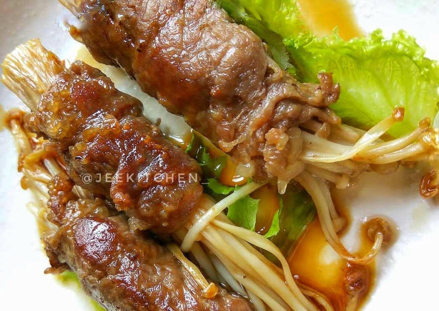 Resep Enoki Beef Rolls Daging Gulung Jamur Enoki Oleh Jeje Jeekitchen Resep Roti Gulung Jamur Daging