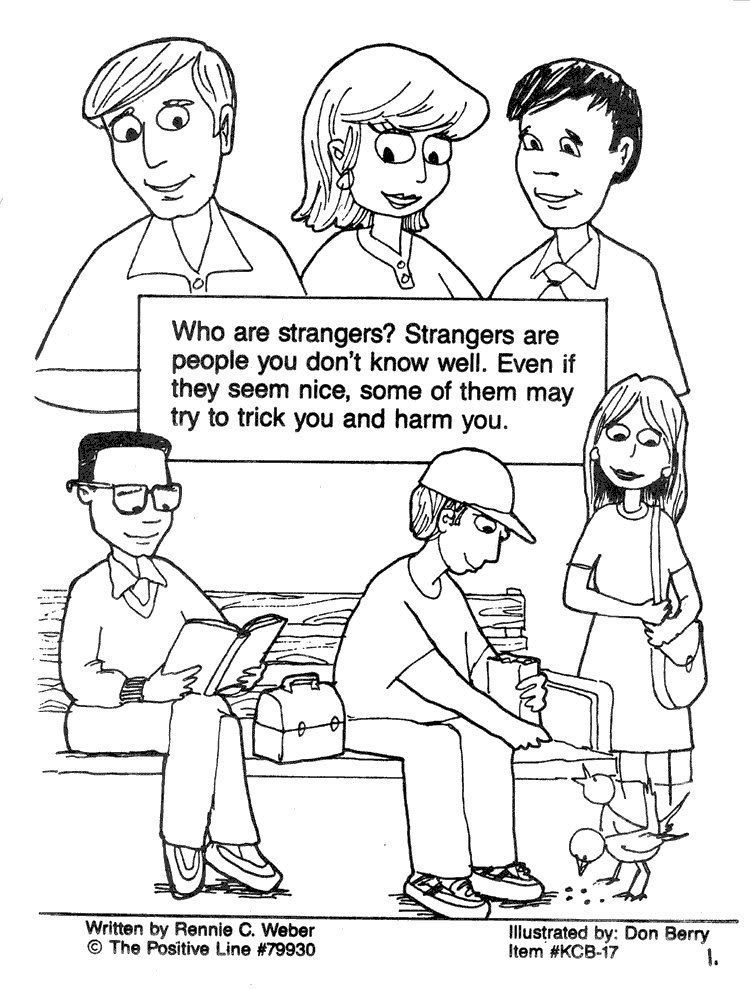 Stranger Safety Coloring Sheet Page Who Are Strangers