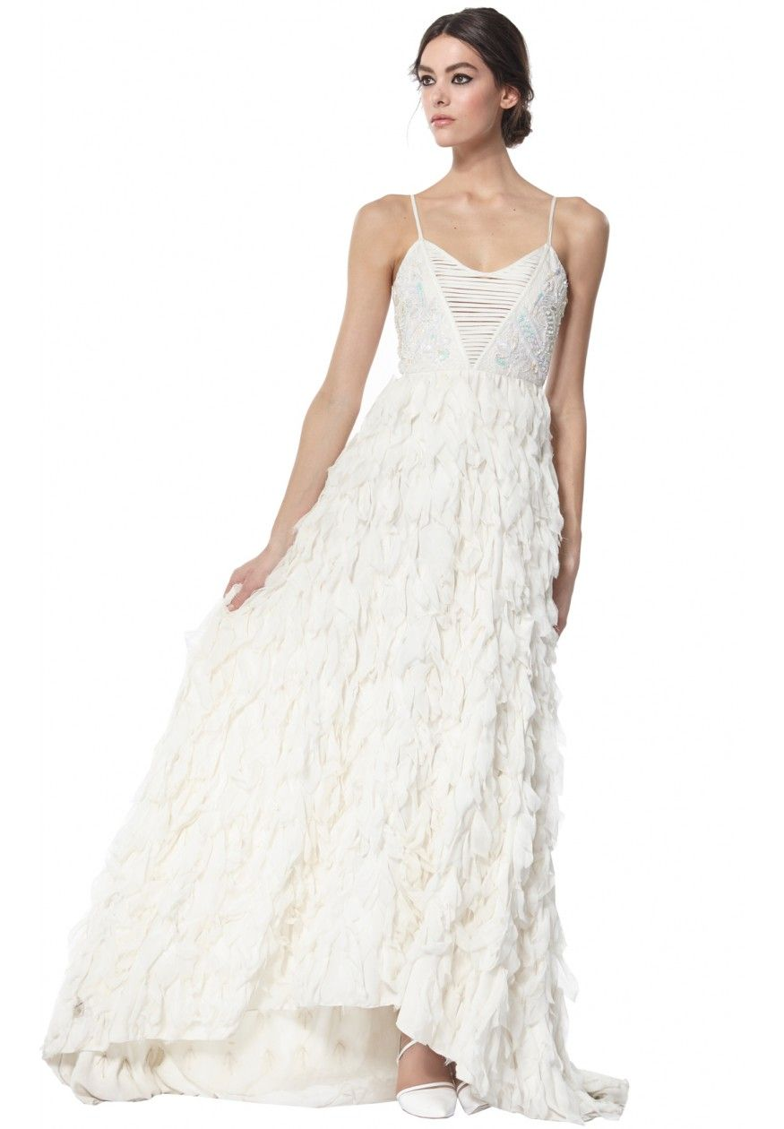 EADDY EMBELLISHED FAUX FEATHER GOWN in WHITE by Alice + Olivia | My ...