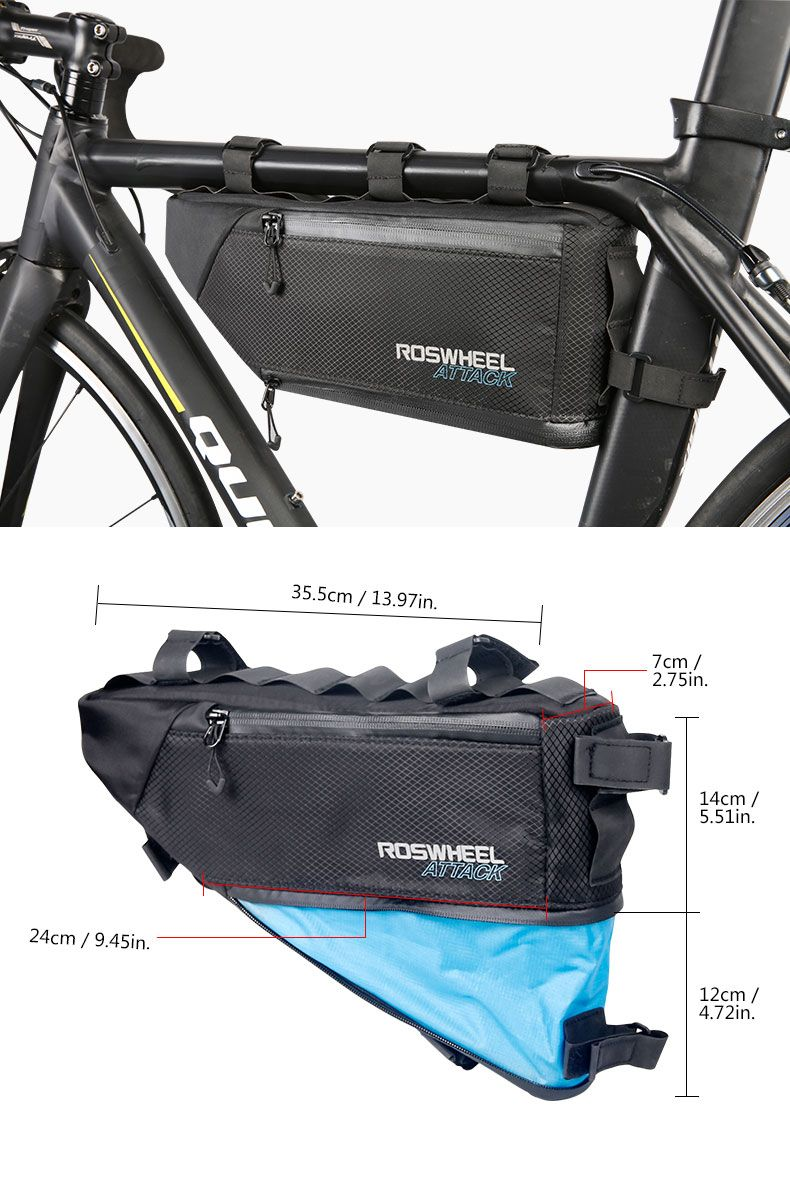 1.5L Cycling Bicycle Bag Front Triangle Frame Top Tube Pouch For Road MTB Bike