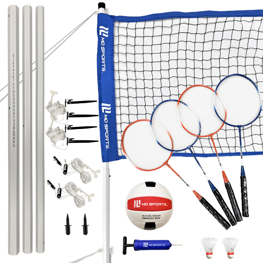 Md Sports Advanced Volleyball Badminton Set Accessories Included Lawn Game Blue White Walmart Com Badminton Volleyball Sports