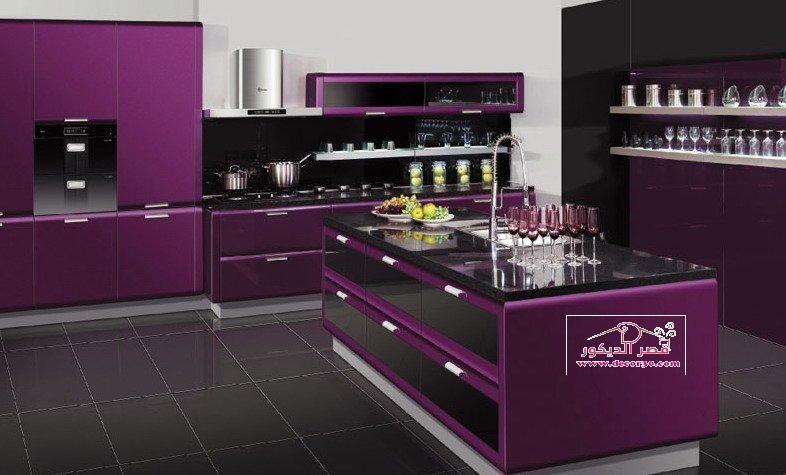 صور مطابخ الوميتال موف Kitchens Alumital In Purple قصر الديكور Black Kitchen Decor Kitchen Design Purple Kitchen Designs