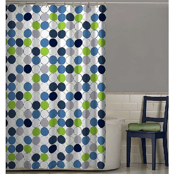 Nu Cirque Fabric Shower Curtain Lime Green And Blue Circles