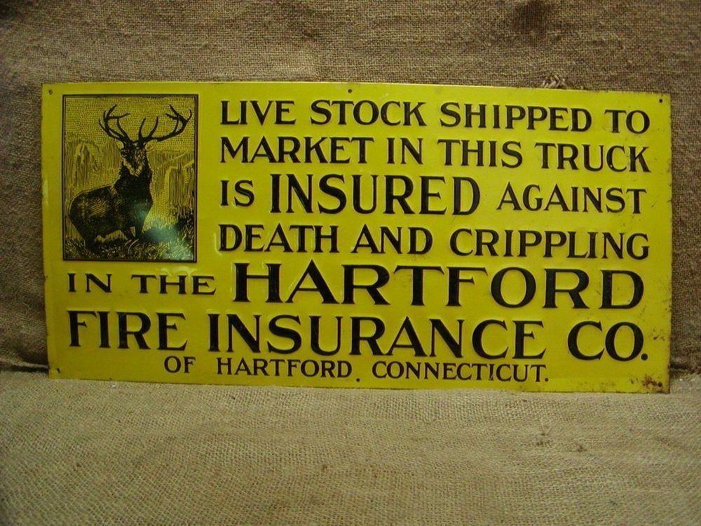 Rare Vintage Hartford Insurance Sign Antique Old Metal Hartford