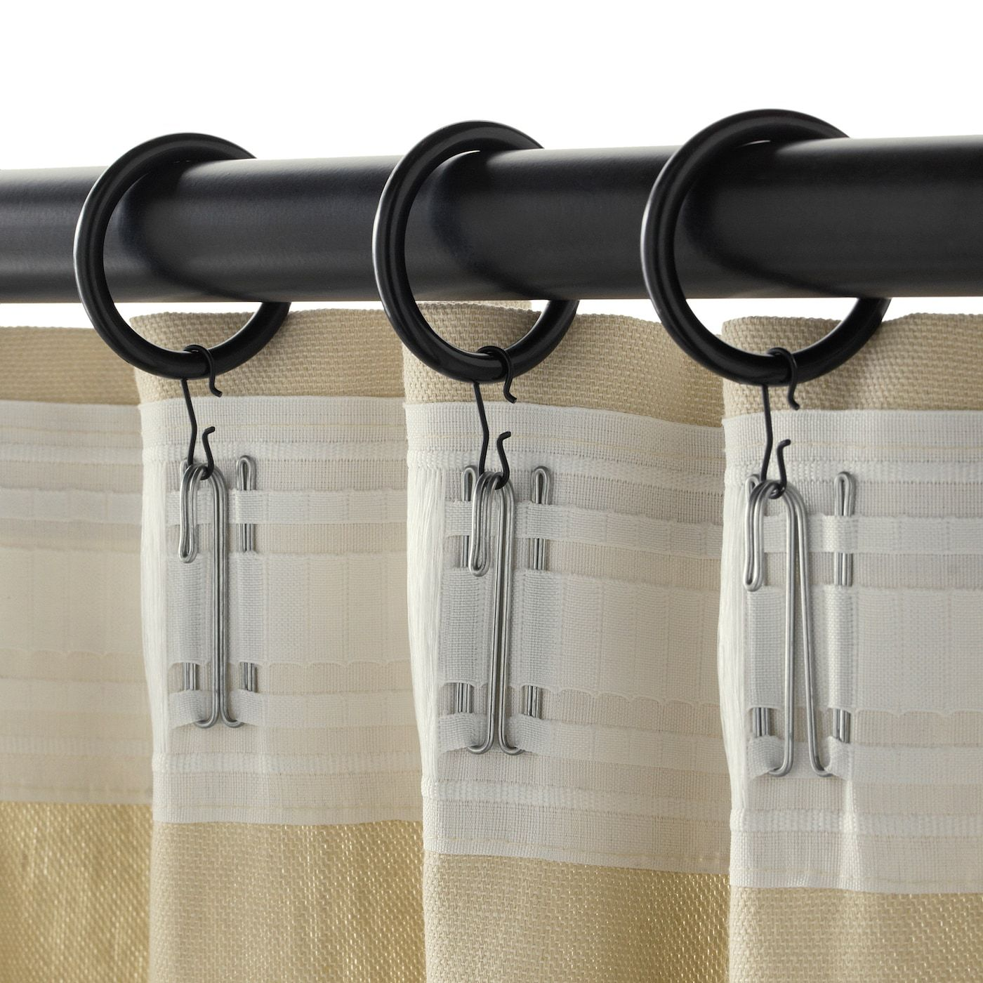 Syrlig Curtain Ring With Clip And Hook Black 1 1 2 38 Mm In 2020 Curtains With Rings Curtain Rings With Clips Ikea Curtains