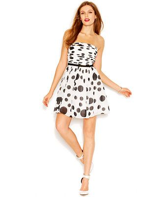 GUESS Strapless Bandeau-Neck Dot-Print Flared Dress  d5afb9fe85