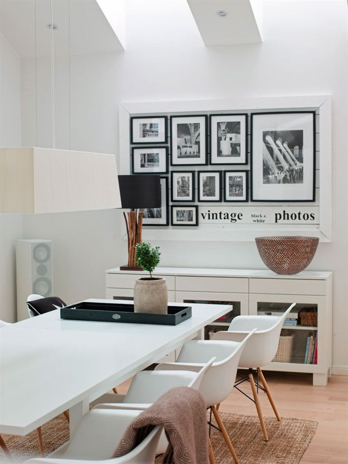 Another nice wall decor idea: black frames inside the big white ...