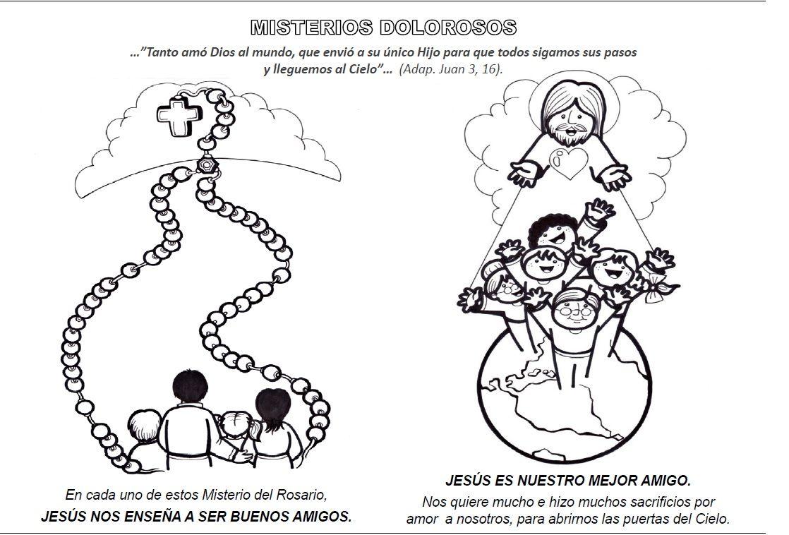 La Catequesis: Recursos Catequesis Santo Rosario para Colorear - Mes ...